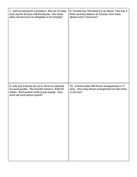 5th Grade Multiplication & Division Bare Number and Word Problem Quiz
