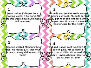 5th Grade Multiplication/Division Word Problem Task Cards