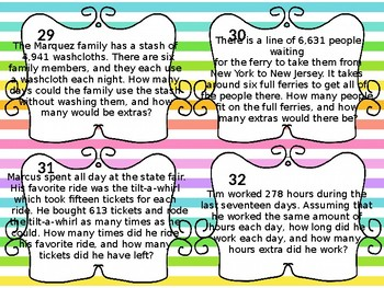 5th Grade Multiplication/Division Word Problem Task Cards