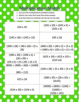 5th Grade Multiplication Match