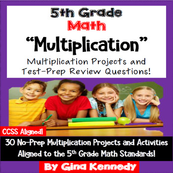 5th Grade Multiplication, 30 Enrichment Projects and Test