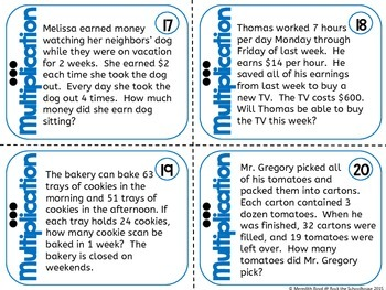 Multiplication Task Cards - Math Problem of the Day ( 5th grade word problems )