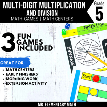 5th Grade Multiply and Divide Whole Number Games and Centers