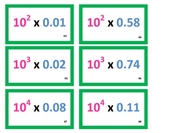 5th Grade Multiplying Decimals by Powers of 10 Game for Common Core