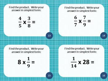 5th Grade Multiplying & Dividing Fractions- Math Task Cards