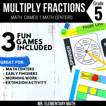 5th Grade Multiplying Fraction Games and Centers