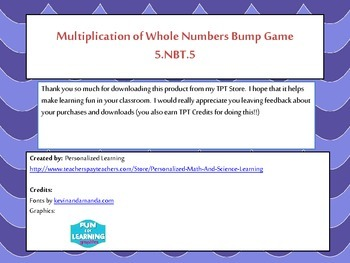 5th Grade Multiplying Whole Numbers Bump Math Game {5.NBT.5} Common Core Aligned