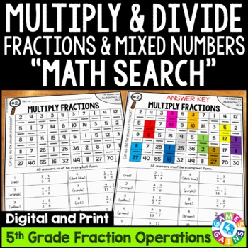 5th Grade Multiplying and Dividing Fractions Math Search {5.NF.3, 5.NF.4, 5.NF.7