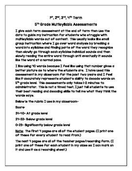 5th Grade Multisyllabic Words Assessments for the Entire Year