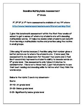 5th Grade Multisyllabic Words Benchmark Assessment