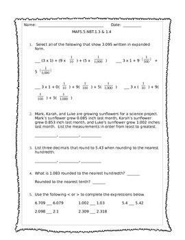 5th Grade NBT 1.3 & 1.4 Mini Assessment