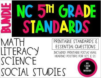 5th Grade NC Standards 2018-19 Reading, Math, Science, SS