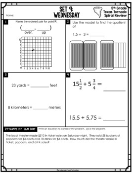 5th Grade NEW TEKS TX Tornado Spiral Review Part 1 (sets 1-6)  Be STAAR Ready
