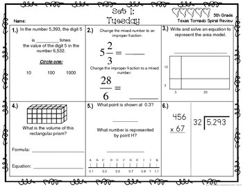 5th Grade NEW TEKS TX Tornado Spiral Review Pt 1(Set 1 only)Free! Be STAAR Ready