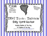 5th Grade NEW TEKS TX Tornado Spiral Review Pt 1(Set 1 onl