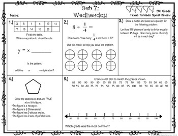5th Grade NEW TEKS TX Tornado Spiral Review Pt 2 (set 7 Freebie)  Be STAAR Ready