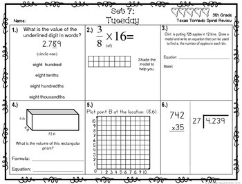 5th Grade NEW TEKS TX Tornado Spiral Review Pt 2 (set 7 Fr