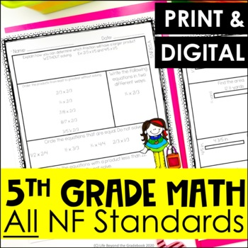 5th Grade NF Review Sheets - All NF Fraction Standards