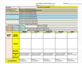 5th Grade NGSS Lesson Plan template with drop down menus