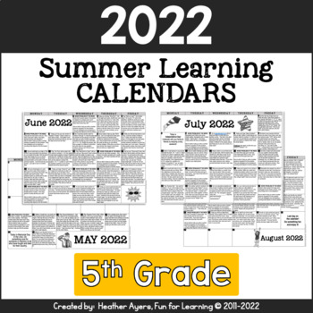 2017 5th Grade NO PREP Summer Calendars