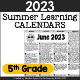 2019 5th Grade NO PREP Summer Calendars