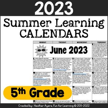 2016 5th Grade NO PREP Summer Calendars