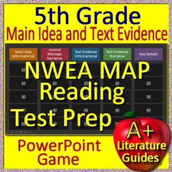 5th Grade NWEA MAP Test Prep Main Idea and Text Evidence Game on