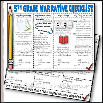 5th Grade Narrative Writing Checklist~ EDITABLE