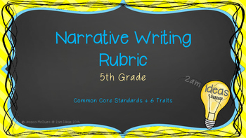 5th Grade Narrative Writing Rubric with Common Core Standards and 6 Traits