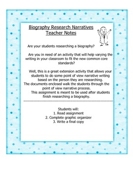 5th Grade Narrative Writing Using Biography Research