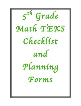 5th Grade New Math TEKS Planning Checklist