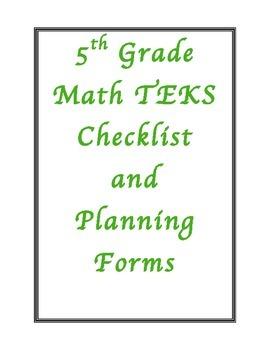 5th Grade New Math TEKS Planning Checklist