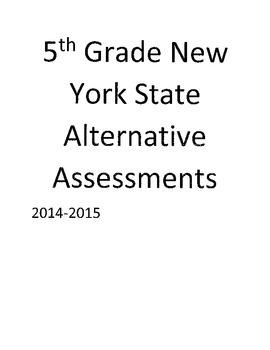 5th Grade New York State Alternative Assessment sheets