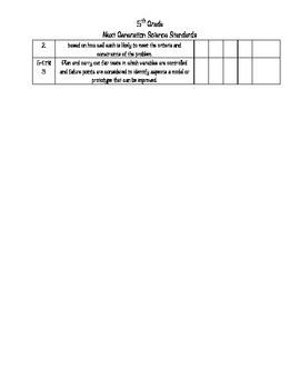 5th Grade Next Generation Science Standards Checklist