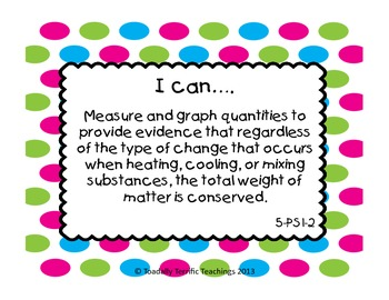 "5th Grade Next Generation Science Standards ""I Can"" Statements"