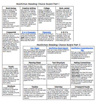 5th Grade Nonfiction Reading Choice Board
