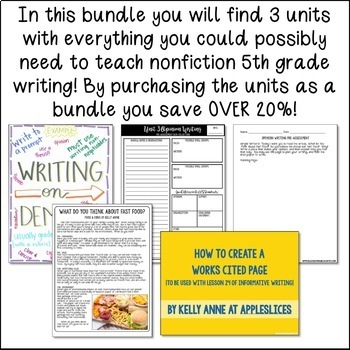 5th Grade Nonfiction Writing Bundle | Nonfiction Writing Curriculum | 80 Days