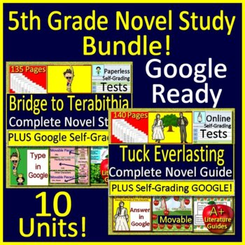 5th Grade Novel Study Bundle - Full Year of Activities and Assessments
