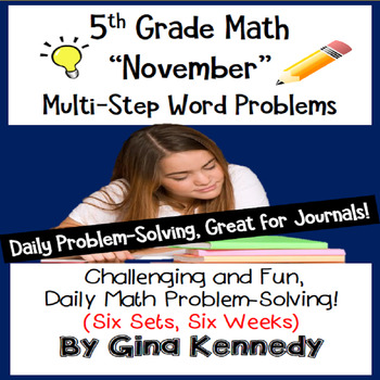 Daily Problem Solving for 5th Grade: November Word Problems (Multi-step)