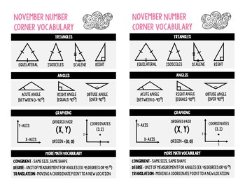 5th Grade November Number Corner Student Worksheets