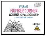 5th Grade November Number Corner Student Worksheets