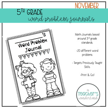 5th Grade November Word Problem Journals