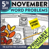 5th Grade November Word Problems printable and digital mat