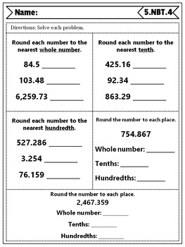 5th Grade Number & Operations in Base Ten Quizzes: 5th Grade NBT Quizzes, Math
