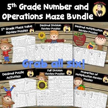 5th Grade Number Sense Color In Maze Bundle