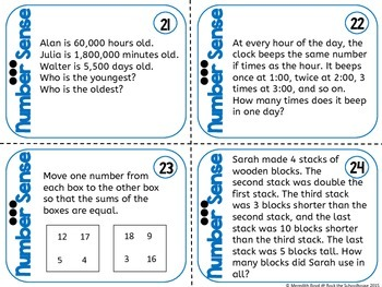 Number Sense Task Cards - Math Problem of the Day ( 5th grade word problems )