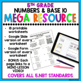 5th Grade Numbers & Base 10 Review Worksheets & Google Slides DISTANCE LEARNING