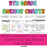 5th Grade Numbers in Base Ten Anchor Charts and Interactive Notebook Pages