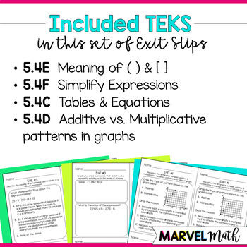 5th Grade Numerical & Algebraic Relationships TEKS Exit Slips