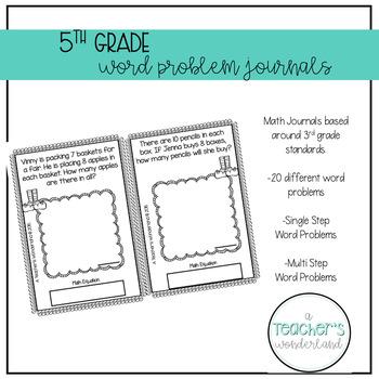 5th Grade October Word Problem Journals
